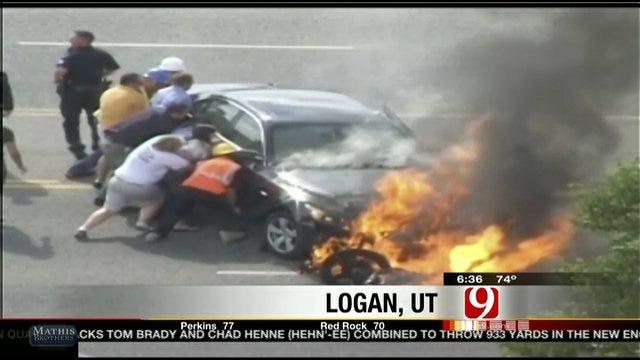 Good Samaritans Lift Car Off Victim