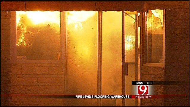 OKC Fire Department Battles Large Fire At Flooring Store