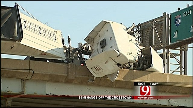 Driver Saved From Big Rig That Flipped On I-40 Bridge