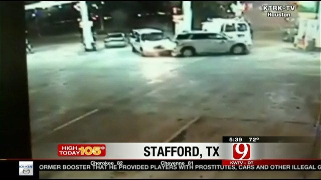 Amazing Video: Close Call At Gas Station, SUV Swallowed By Sinkhole