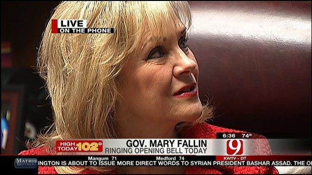 Gov. Fallin Talks About Ringing Opening Bell On Wall Street