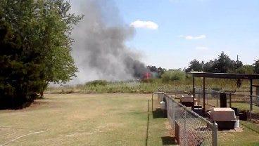 SW OKC Grassfire Threatens Home