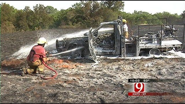 Pocasset Firefighters, Truck Burned Fighting Grass Fire