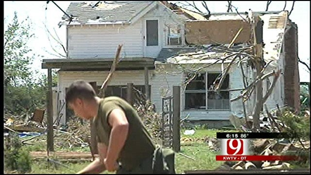 Marines Help Cashion Family Clean Up After Tornadoes