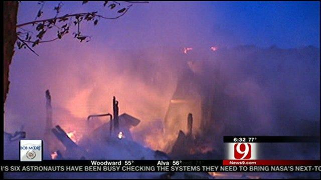 Fire Destroys House In Harrah, Wind Fans Flames