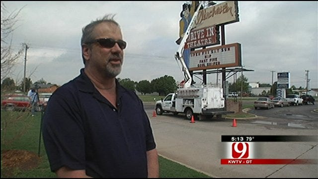 Winchester Drive-In Theatre Sign Gets Annual Check Up