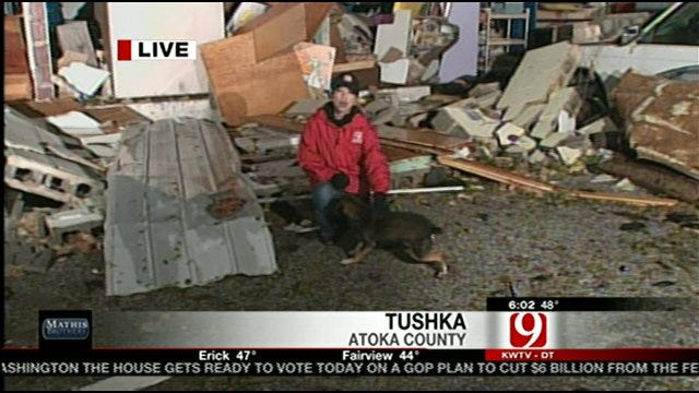 News 9 Crew Finds Puppy After Deadly Tushka Tornado