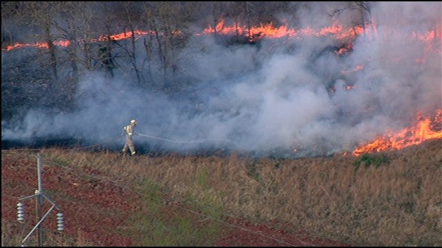 Firefighters Battle Blaze In Cleveland County