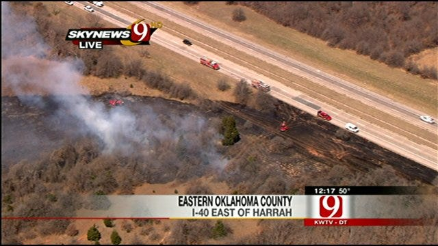 At Least 3 Fires Sparked Along I-40 In Oklahoma County