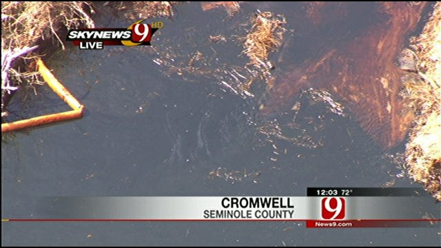 Crew Work To Keep Cromwell Oil Spill From Spreading Farther