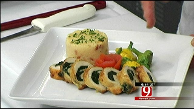 Spinach Stuffed Chicken Breast with Cheesy Grits