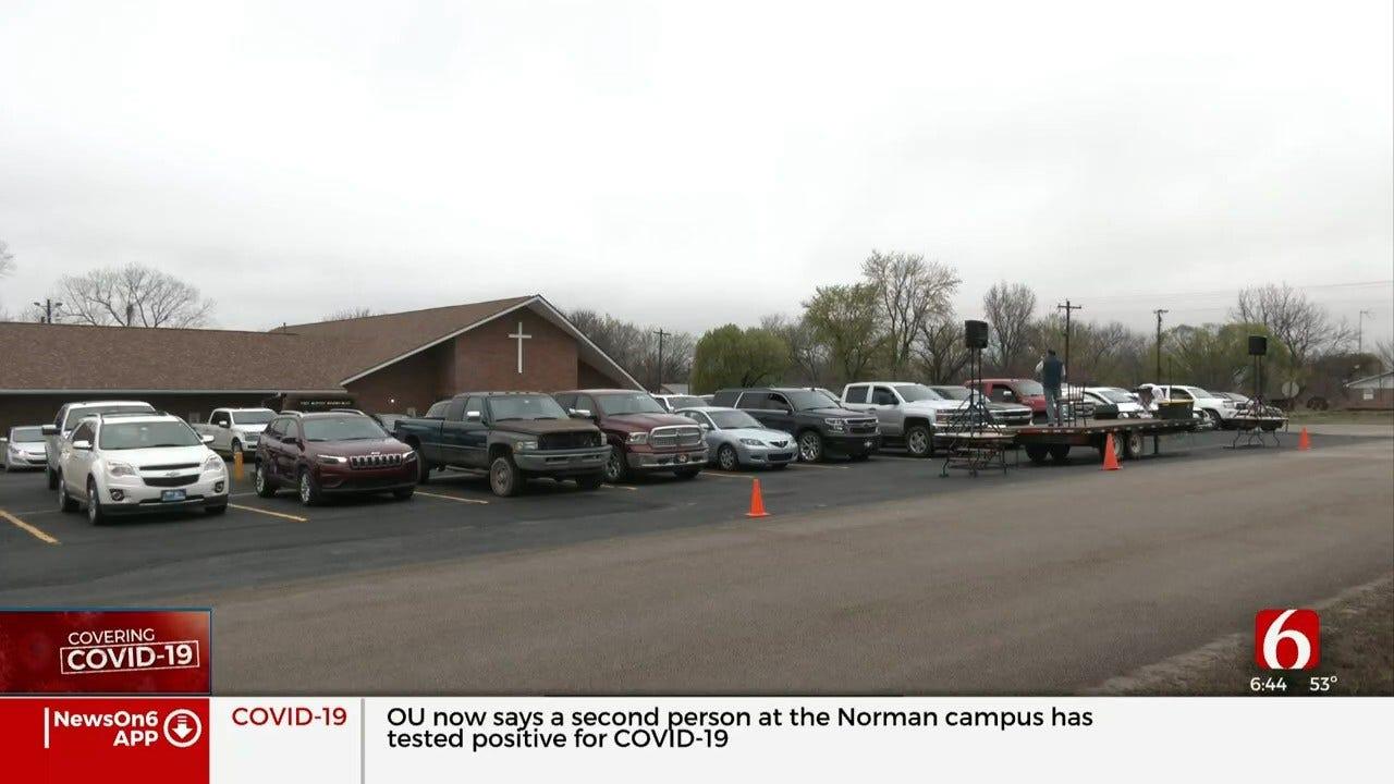 Creek County Church Holds Unique Drive-Thru Sunday Service