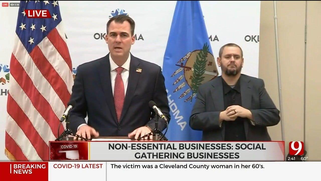 WATCH: Gov. Stitt Announces 'Safer At Home' Plan, Closure Of Non-Essential Businesses