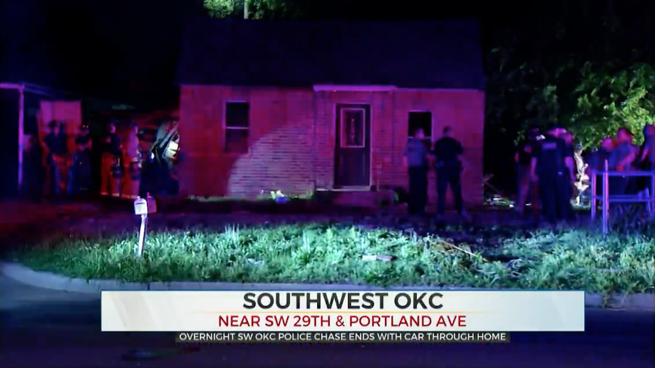 Overnight High-Speed Pursuit Ends With Car Crashing Into SW OKC Home