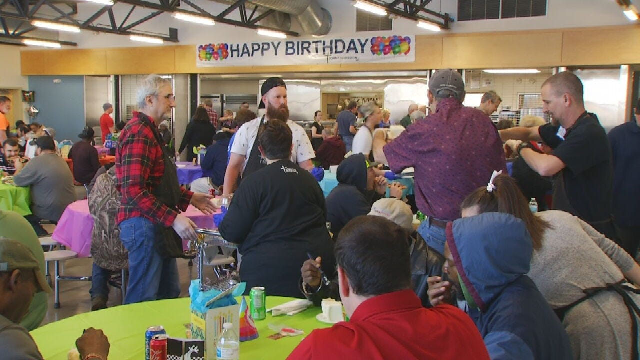 Tulsa's John 3:16 Mission Holds Birthday Party For Homeless