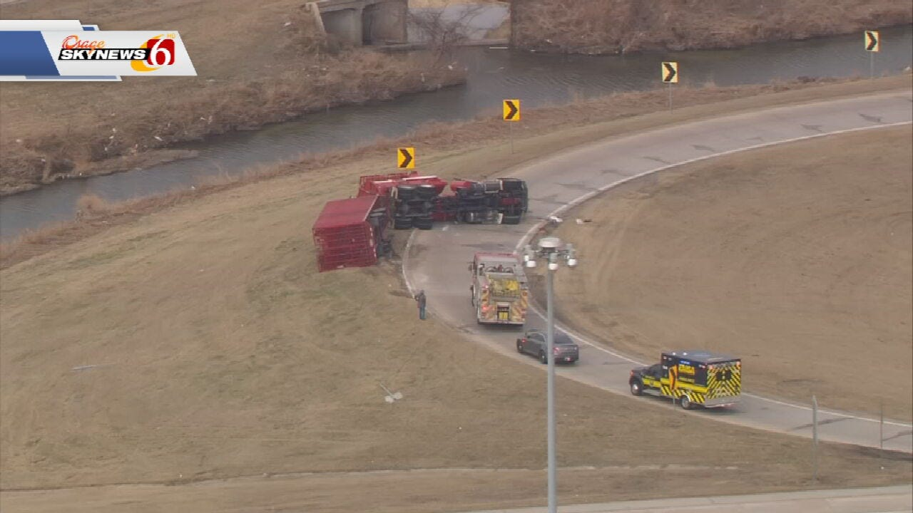 ODOT Closes US-169 Off-Ramp After Dump Truck Overturns