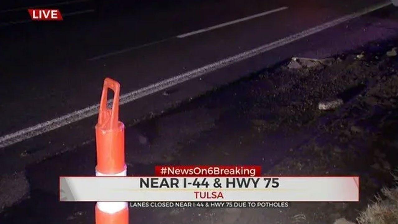 Lanes Closed On EB I-44, Hwy 75 Due To Potholes