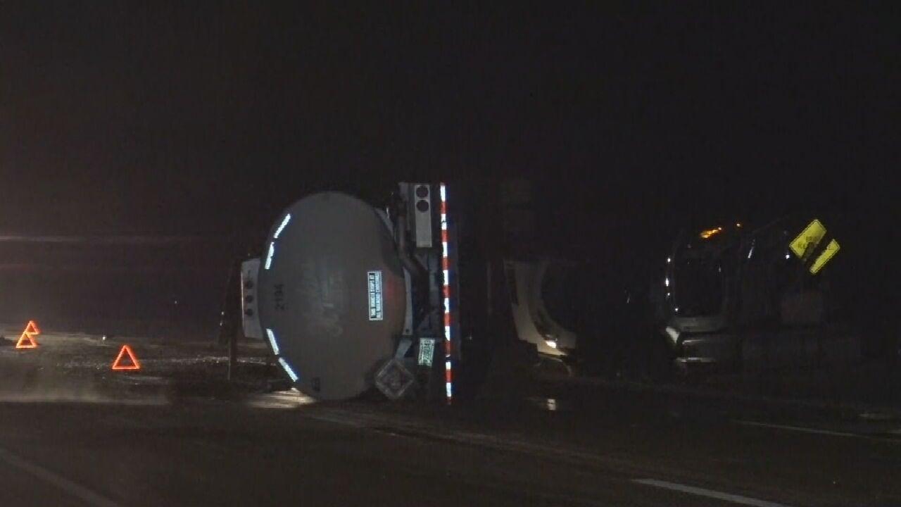 WATCH: News On 6 Storm Tracker JD McManus At Semi Crash On The Cherokee Turnpike