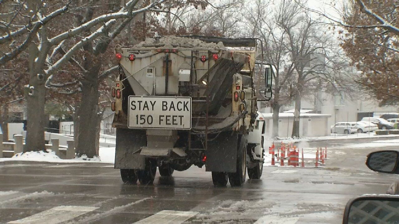 Downtown Tulsa Road Conditions On Snowy Day