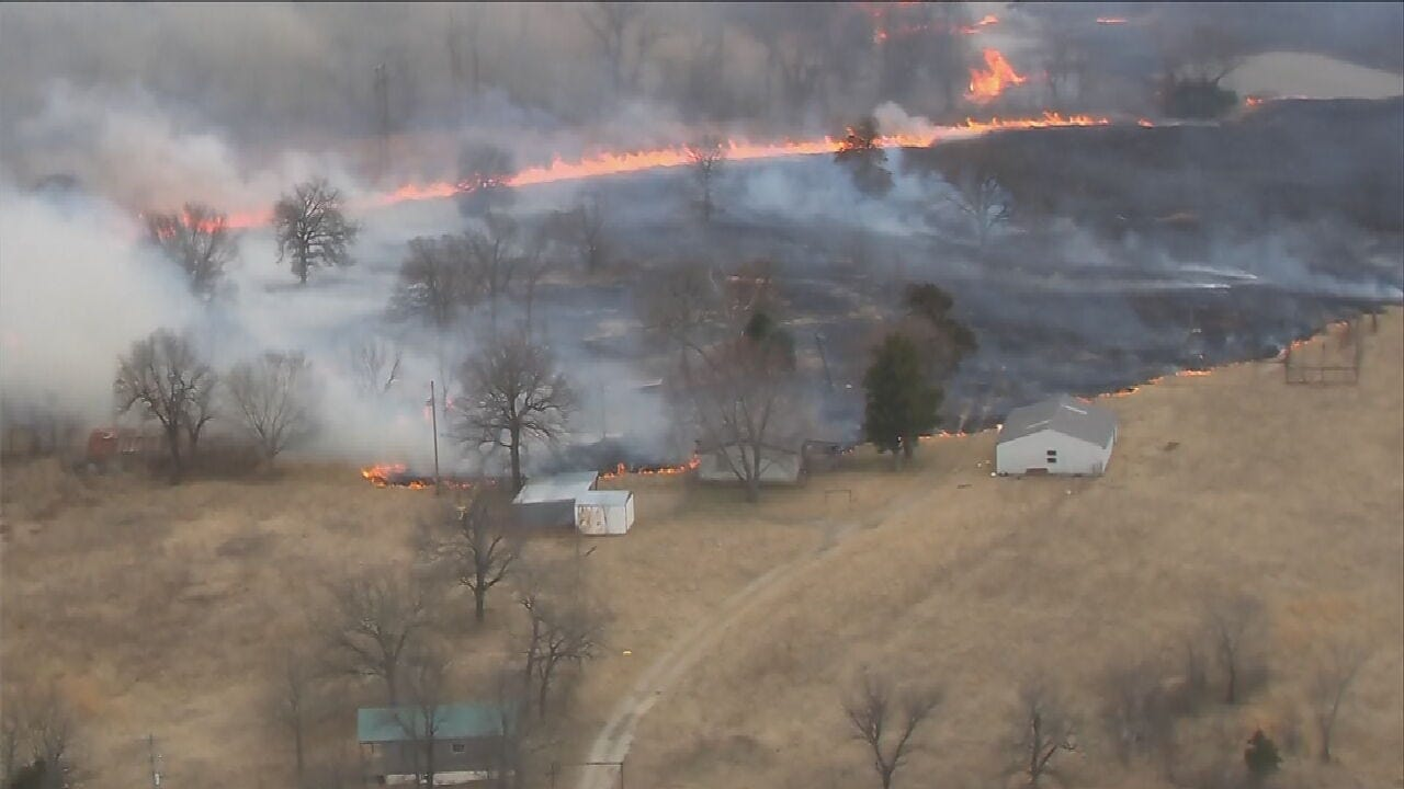 Large Creek County Brush Fire Threatens Structures