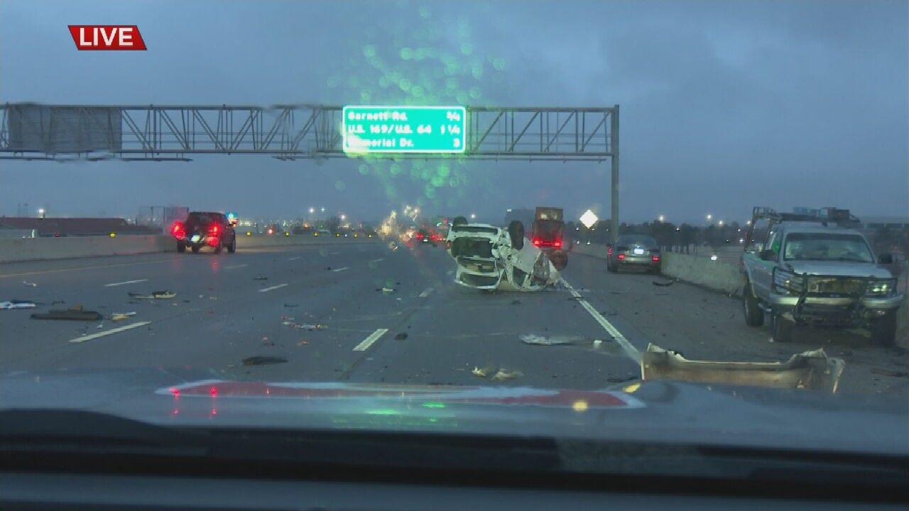 WATCH: Woman Survives Rollover Crash In Tulsa
