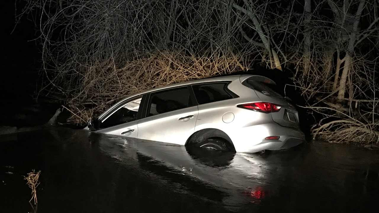 Couple Drives Into Creek After Dodging Storm Debris in Rogers County