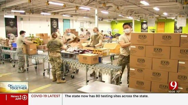 Oklahoma Air National Guard Members Help Regional Food Bank Pack Emergency Boxes