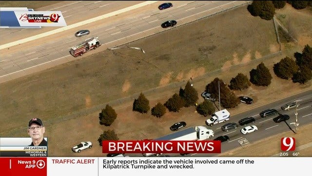 Vehicle Crashes From Kilpatrick Turnpike, Lands Close To Memorial Road Near Western Avenue