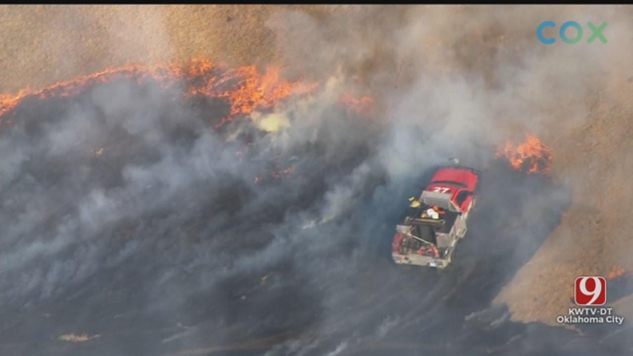Firefighters Battle Wildfire In NE OKC