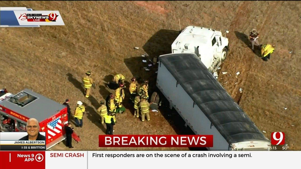 Crews Respond To Crash Involving Semi On I-35