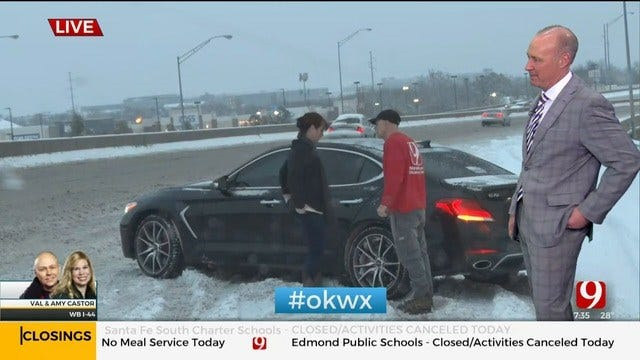 WATCH: Val & Amy Castor Help Driver Stuck In Snow On WB I-44