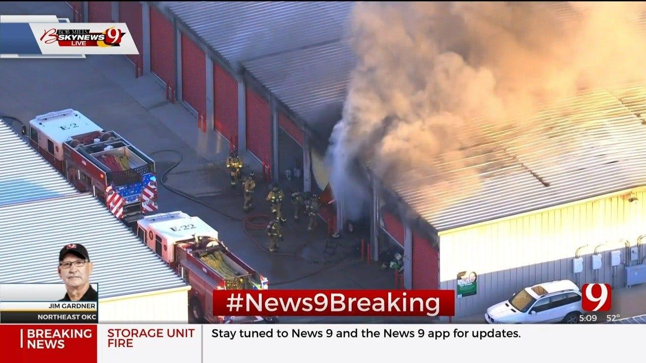 Bob Mills SkyNews 9 Flies Over Storage Unit Fire