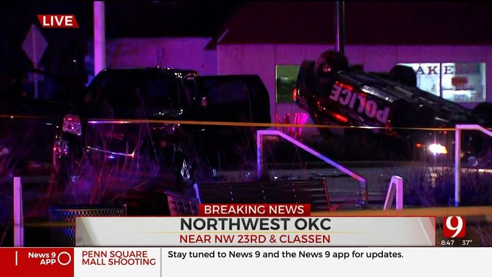 OKC Officer Crashes Police Unit While Responding To Shots Fired Call At Penn Square Mall