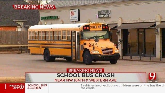 Emergency Crews Respond To Crash Involving School Bus In NW OKC