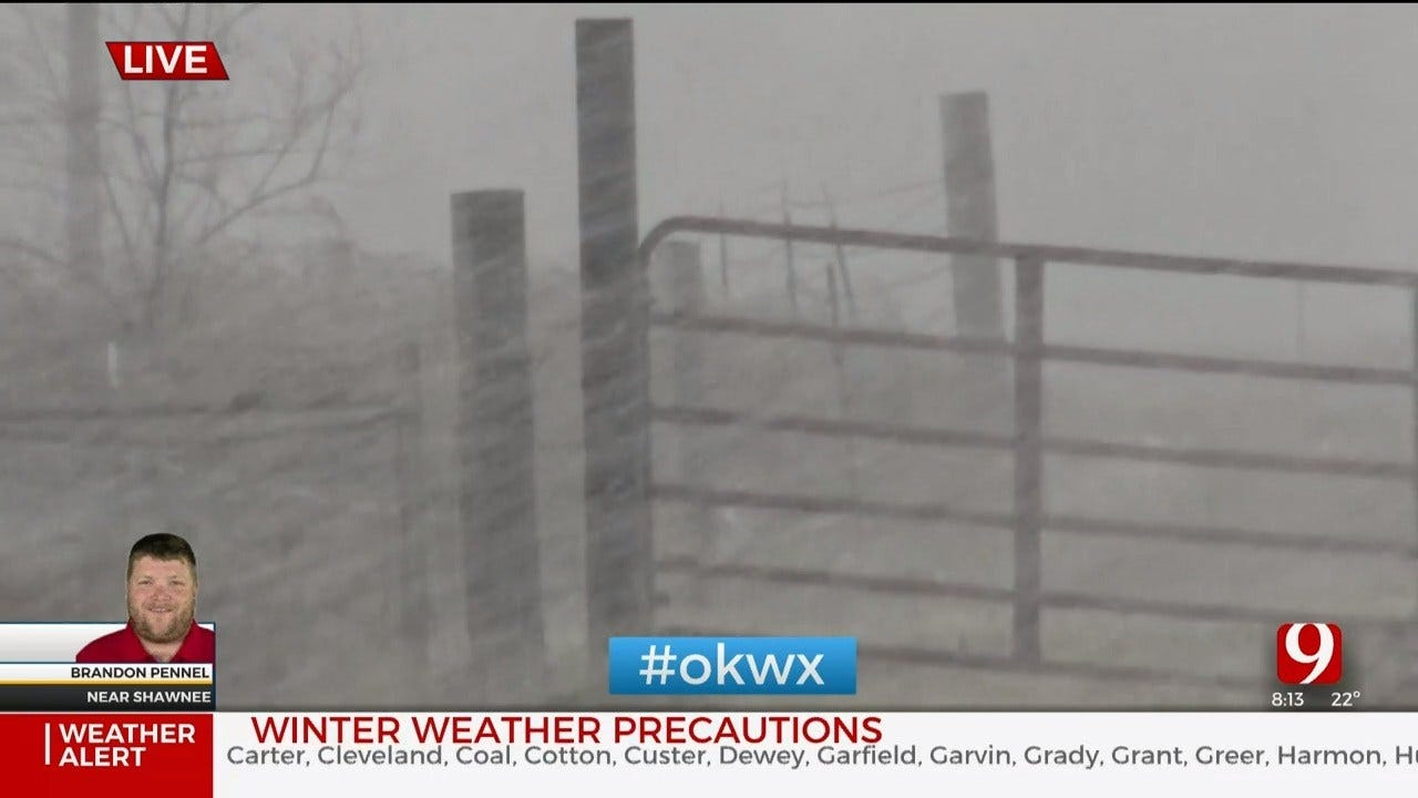 Winter Weather: Brandon Pennel Tracks Heavier Snow Near Shawnee
