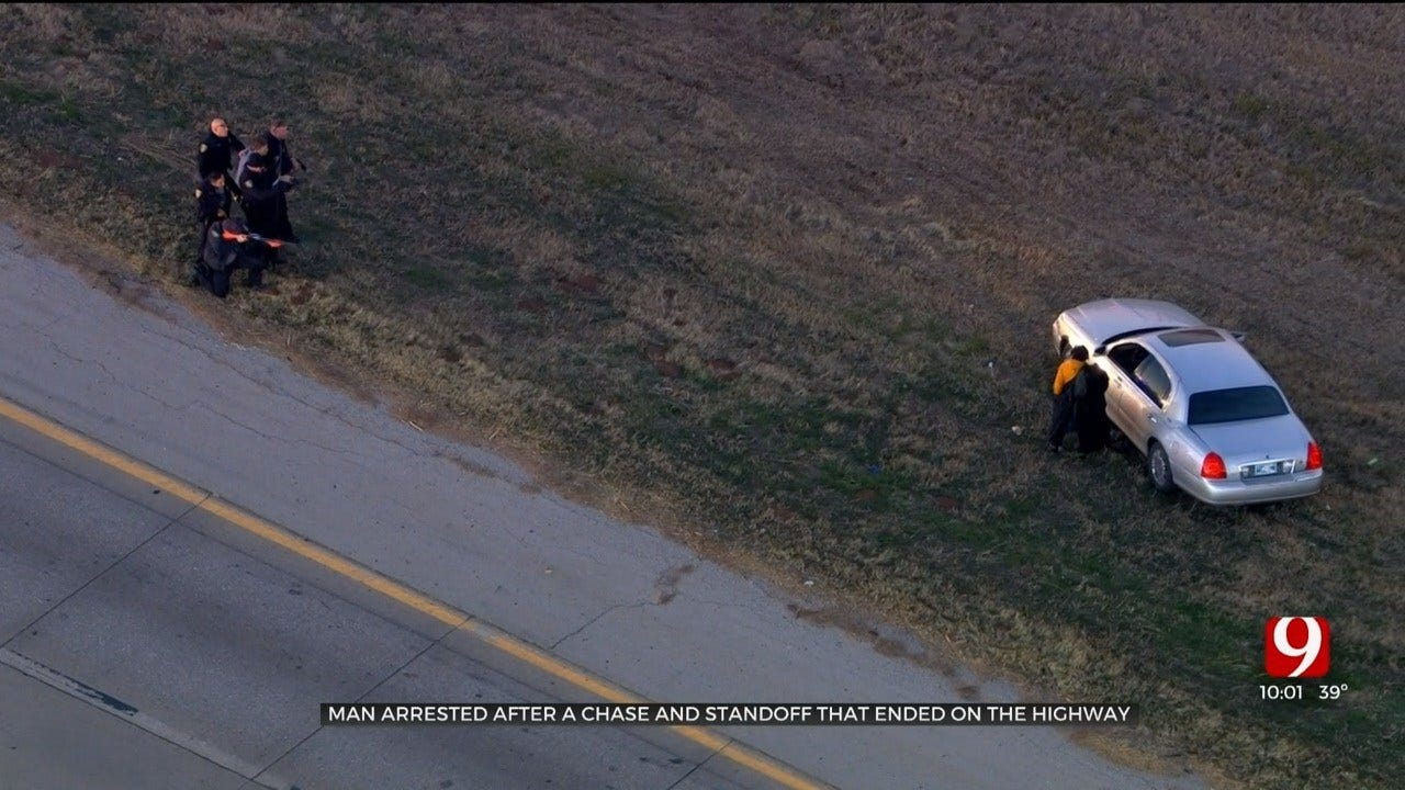 Man Arrested After Police Chase, Strange Standoff Along I-44 Near I-240