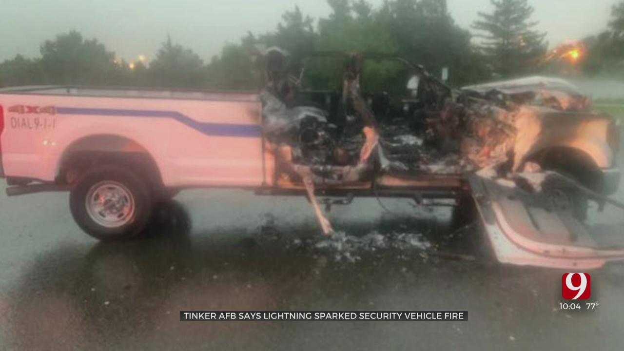 Tinker AFB Security Truck Struck By Lightning With People Inside