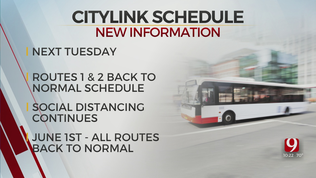 Two Citylink Buses In Edmond Will Resume Normal Schedule This Week