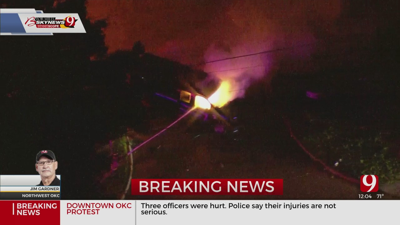 WATCH: Bob Mills SkyNews 9 Over The Scene Of Police Van Fire During Saturday Protest