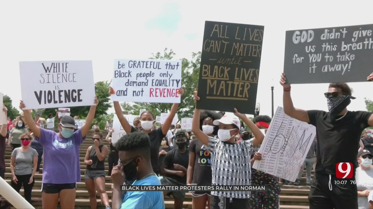 Black Lives Matter Demonstrators Peacefully Protest In Norman