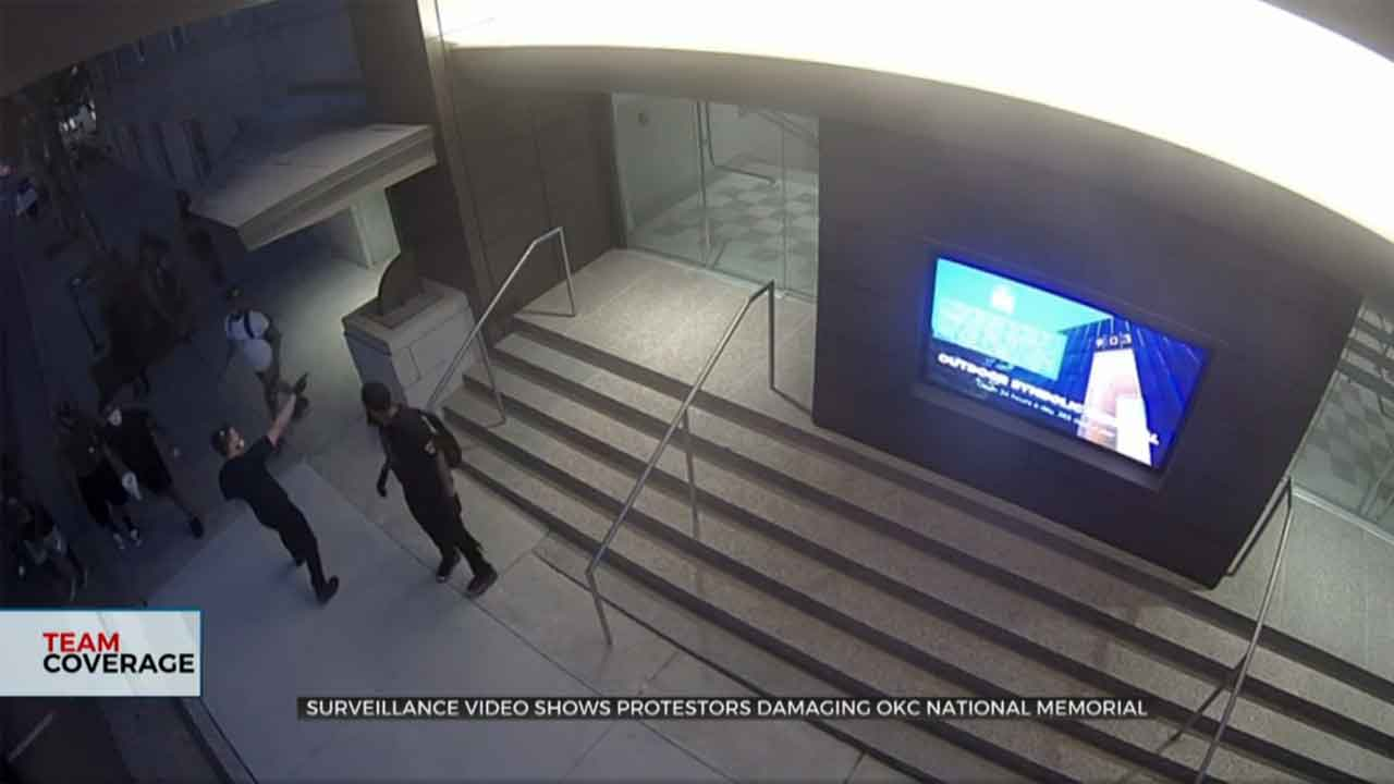 Surveillance Video Shows Protesters Damaging Oklahoma City National Memorial
