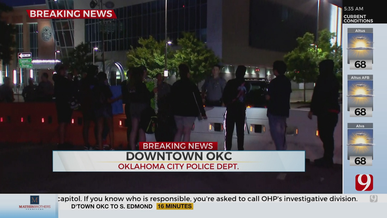 Group Of Protesters Gathered At OKC Police Department After Overnight Curfew Lifted