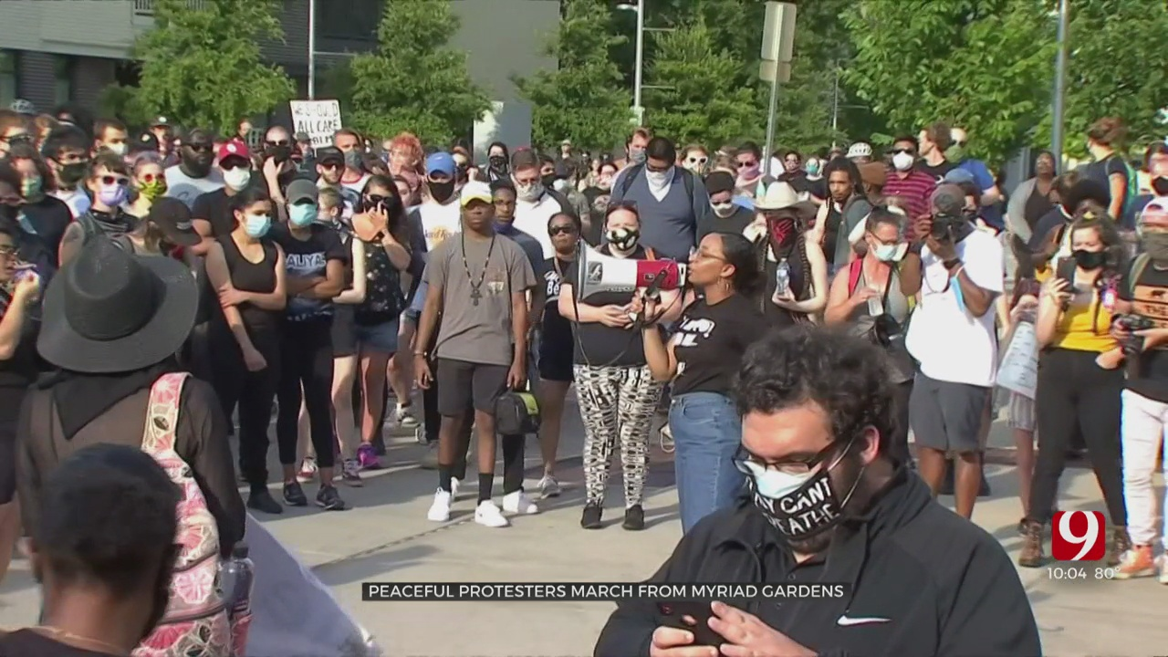 Peaceful Protesters March From Myriad Gardens To OKC Police Department