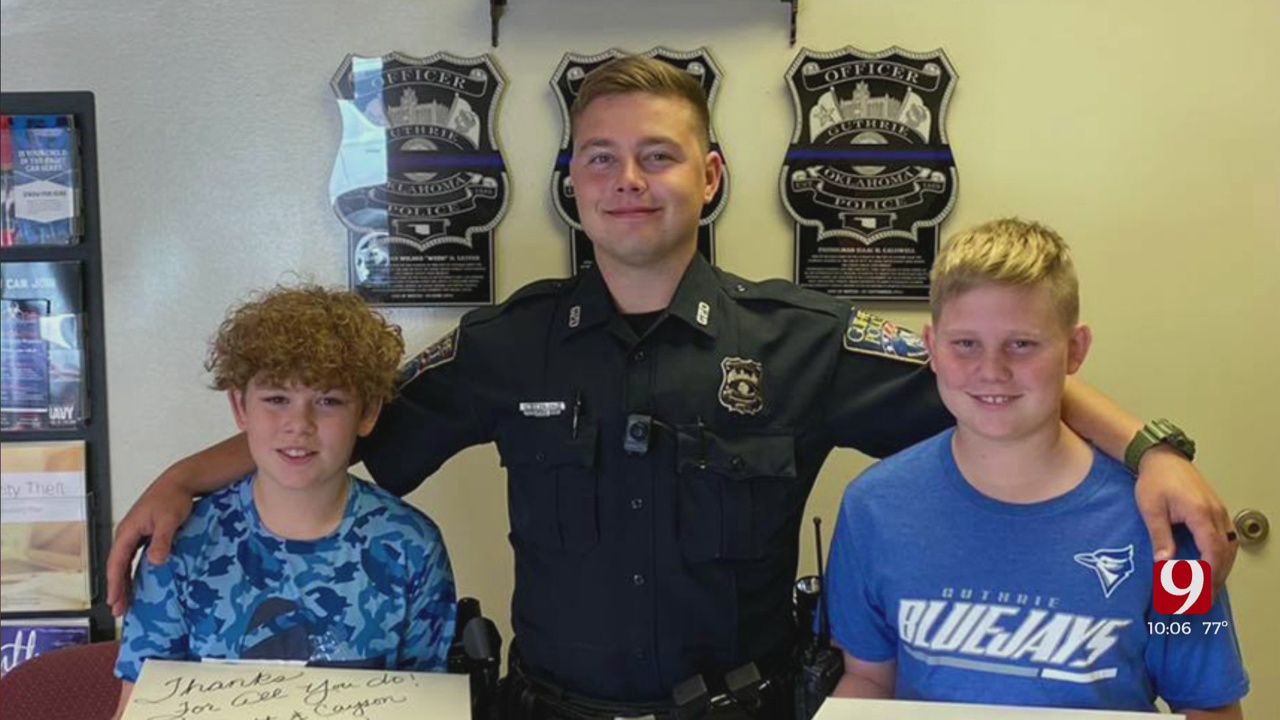 Young Boys Thank Guthrie Officers After Protests