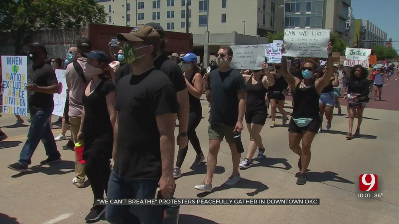 'We Can't Breathe' Protestors Marched Through Bricktown Against Racism And Injustice
