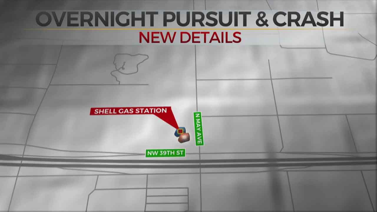 3 In Custody After Overnight Pursuit In NW OKC Ends In Crash
