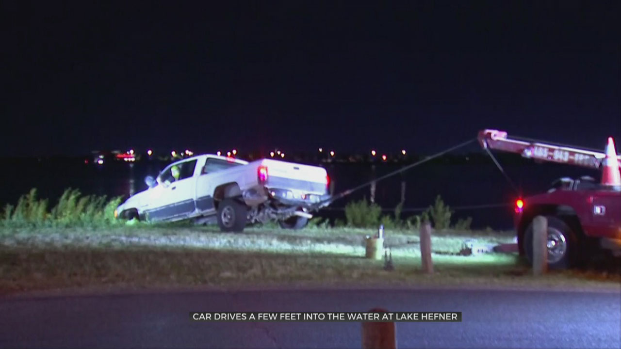 Vehicle Misses Turn, Drives Into Lake Hefner