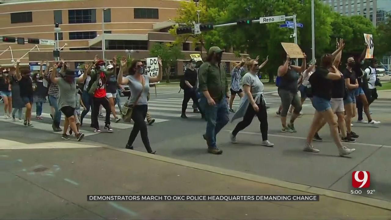 Demonstrators March To OKC Police Headquarters, Demand Change