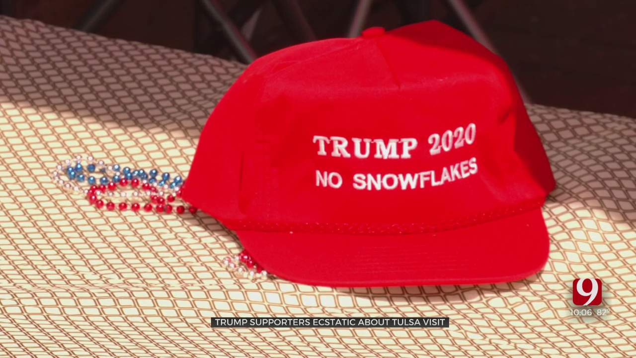 Supporters Of President Trump Camp Outside BOK Center Ahead Of Weekend Visit