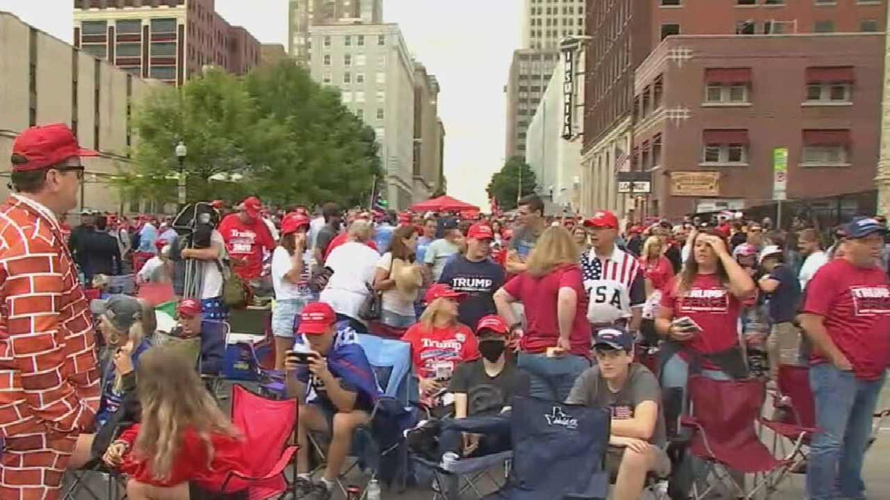 Crowds Gather In Tulsa Ahead Of President Trump Campaign Rally